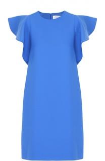 Мини-платье прямого кроя с оборками Victoria by Victoria Beckham