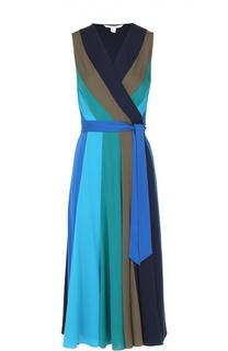 Шелковое платье-миди в контрастную полоску с запахом Diane Von Furstenberg