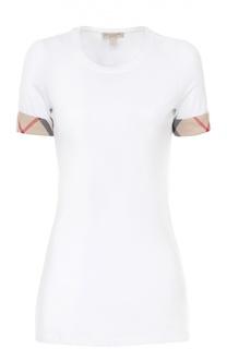 Хлопковая удлиненная футболка с контрастной отделкой Burberry