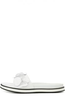 Кожаные шлепанцы с декором Moncler