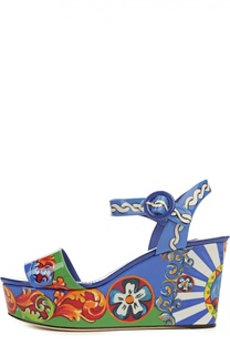 Босоножки Bianca на танкетке с принтом Carretto Siciliano Dolce & Gabbana