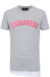 Хлопковая футболка ассиметричного кроя с декоративными потертостями Dsquared2