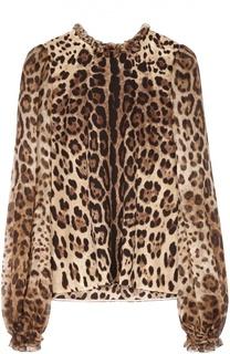 Шелковая блуза с широкими рукавами и леопардовым принтом Dolce & Gabbana