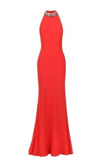 Приталенное платье-макси с открытой спиной и декоративной отделкой Alexander McQueen