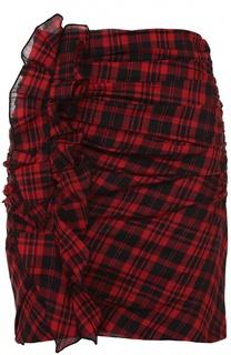 Мини-юбка в клетку с драпировкой и оборками Isabel Marant Etoile