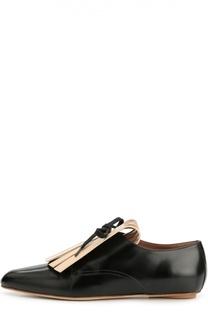 Кожаные ботинки с зауженным мысом и бахромой Marni