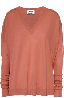 Пуловер свободного кроя со спущенным рукавом и V-образным вырезом Acne Studios