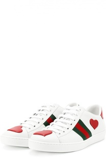 Кожаные кеды New Ace с аппликациями Gucci