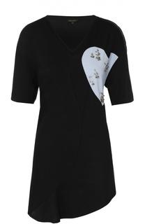 Удлиненная футболка с контрастным принтом и металлизированной отделкой Escada