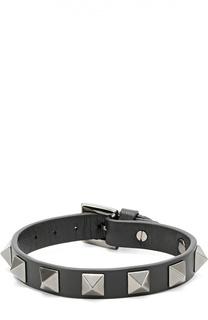 Кожаный браслет Rockstud Noir Valentino