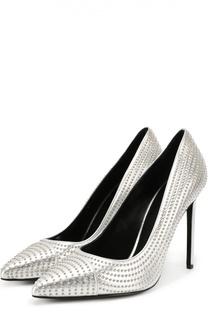 Кожаные туфли Paris Skinny со стразами Saint Laurent
