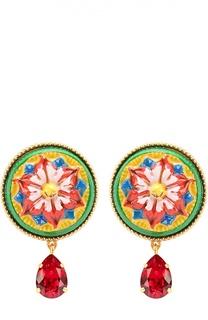 Серьги-клипсы с орнаментом и кристаллами Dolce & Gabbana