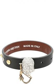 Кожаный браслет с черепом Alexander McQueen
