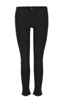 Укороченные джинсы-скинни с бахромой J Brand