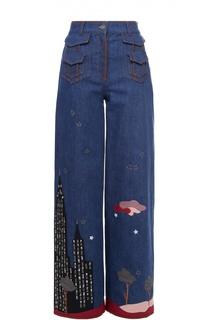 Широкие джинсы с завышенной талией и контрастной отделкой Valentino