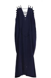 Шелковое приталенное платье-макси Lazul
