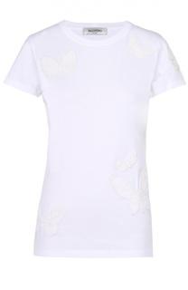 Хлопковая футболка с вышивкой в виде бабочек Valentino