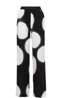 Брюки прямого кроя с эластичным поясом и контрастным принтом Escada Sport