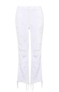 Укороченные расклешенные джинсы с потертостями и бахромой Denim X Alexander Wang