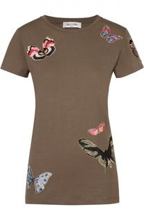 Хлопковая футболка с контрастной вышивкой в виде бабочек Valentino