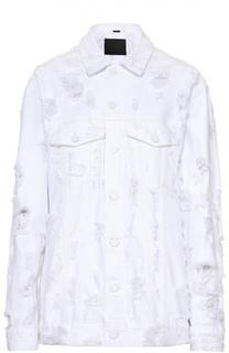 Джинсовая куртка свободного кроя с потертостями Denim X Alexander Wang