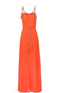 Шелковое платье-макси с декоративной отделкой и высоким разрезом Lazul