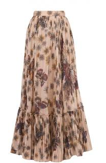 Юбка-макси в складку с цветочным принтом и оборкой Valentino