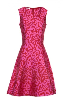 Приталенное мини-платье с контрастным принтом Oscar de la Renta