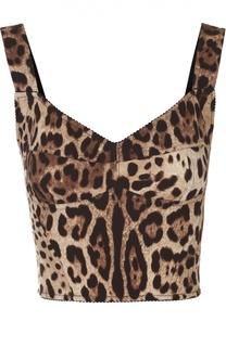 Кроп-топ с леопардовым принтом Dolce & Gabbana
