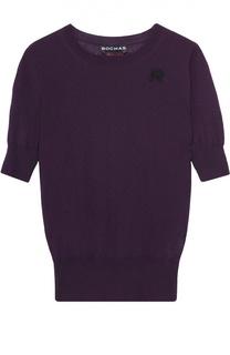 Пуловер прямого кроя с коротким рукавом и перфорацией Rochas