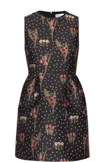 Приталенное мини-платье с контрастным цветочным принтом REDVALENTINO
