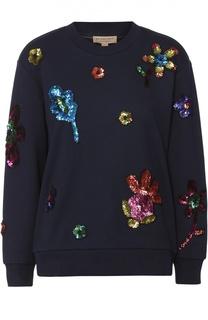 Хлопковый свитшот с контрастной цветочной вышивкой Burberry