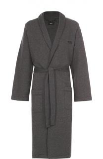 Хлопковый халат с поясом и капюшоном BOSS