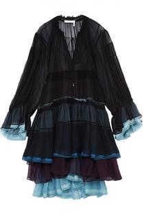 Многоярусное шелковое платье с контрастными оборками Chloé