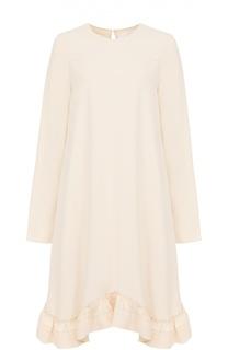 Платье свободного кроя с длинным рукавом и оборками Chloé