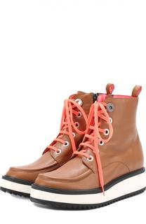 Кожаные ботинки с контрастной шнуровкой Kenzo