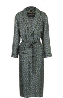 Шелковое пальто с поясом и контрастным принтом Burberry