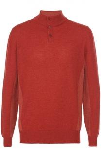 Кашемировый свитер тонкой вязки с воротником на пуговицах Loro Piana