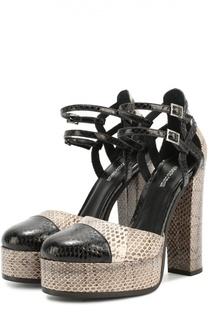 Кожаные туфли с тиснением на устойчивом каблуке Roberto Cavalli