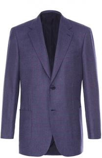 Однобортный приталенный пиджак из смеси кашемира и шелка Brioni
