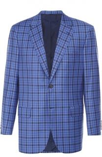 Шерстяной однобортный пиджак в клетку Brioni