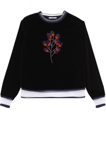 Бархатный свитшот с прозрачными вставками и меховой отделкой Fendi