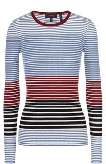Облегающий пуловер в контрастную полоску с круглым вырезом Theory
