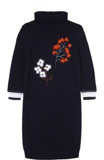 Мини-платье с контрастной меховой отделкой и высоким воротником Fendi