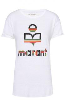 Льняная удлиненная футболка с контрастным принтом Isabel Marant Etoile