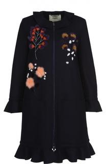 Пальто прямого кроя с накладными карманами и меховой отделкой Fendi