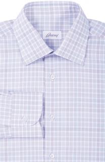 Хлопковая рубашка в клетку с воротником кент Brioni