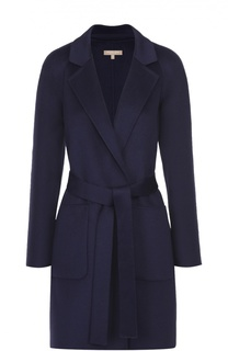 Пальто прямого кроя с поясом и накладными карманами Michael Kors