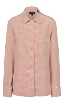 Шелковая блуза в горох в пижамном стиле Theory