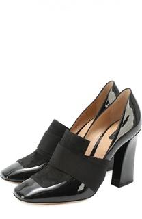 Комбинированные туфли с эластичными лентами Armani Collezioni